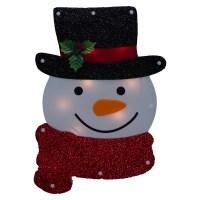 Lighted Holiday Santa Or Snowman Winter Wall/Window Hanger ...