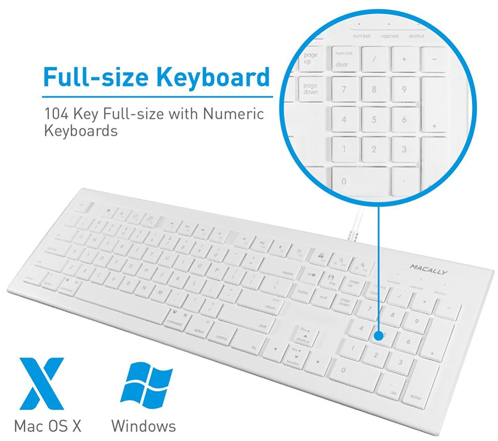 medium resolution of details about macally mkeye full size wired usb keyboard mouse for mac pc desktop laptop