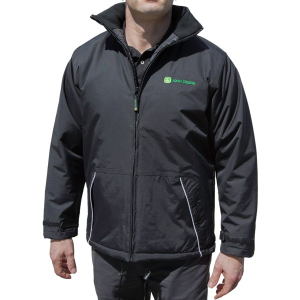 Men' John Deere Jacket Black Adult Coat Mid-weight Spring