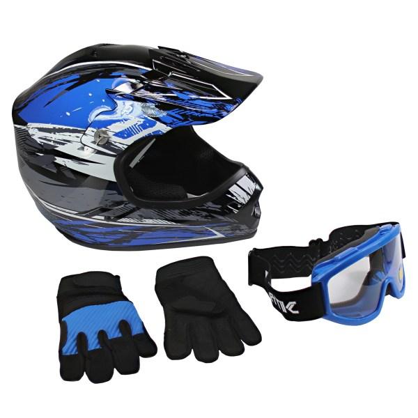 Lunatic Youth Mx Atv Helmet Goggles & Gloves - Dot Approved Boys Girls Kids