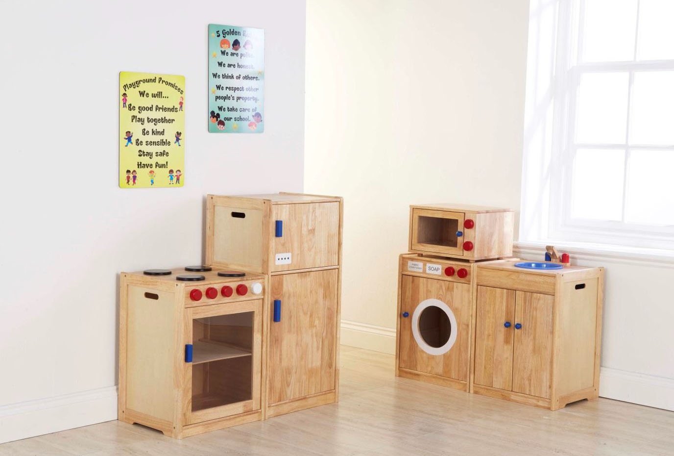 Solid Rubberwood Childrens Toy kitchen COMPLETE set  Mini