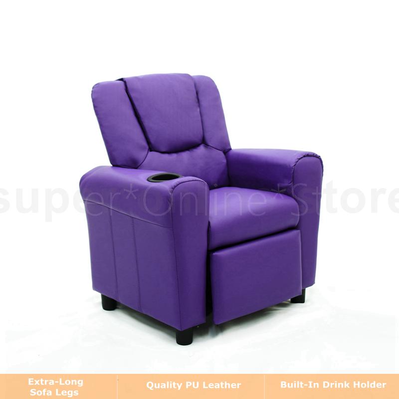 Kids Children Recliner Premium Kid Leather Lounge Chair