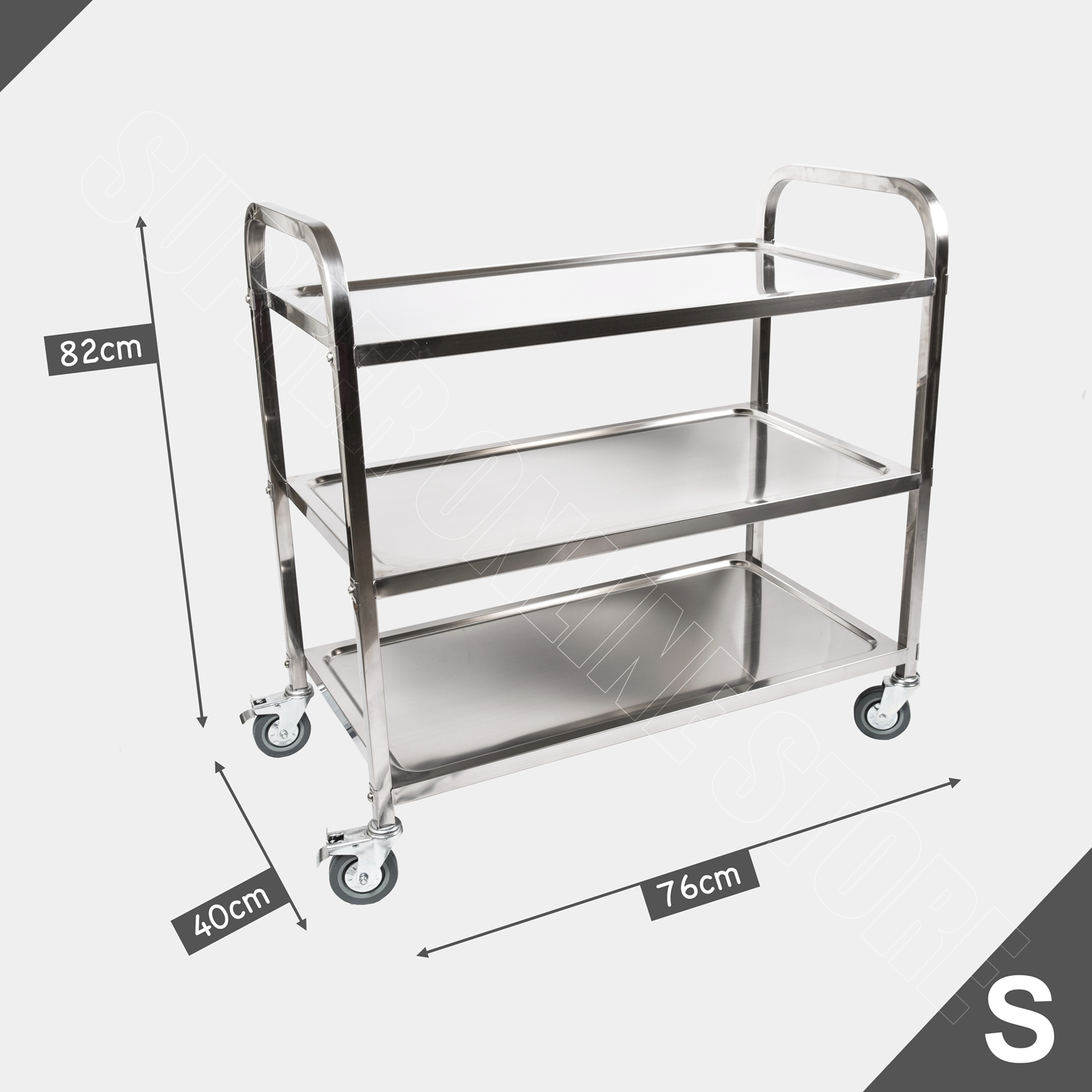 stainless steel carts kitchen faucets ebay 3 tiers food trolley cart utility