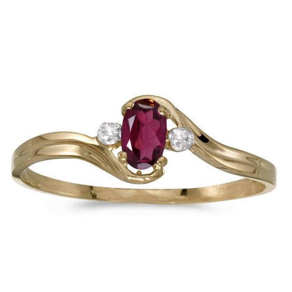 10k Yellow Gold Oval Rhodolite Garnet And Diamond Ring