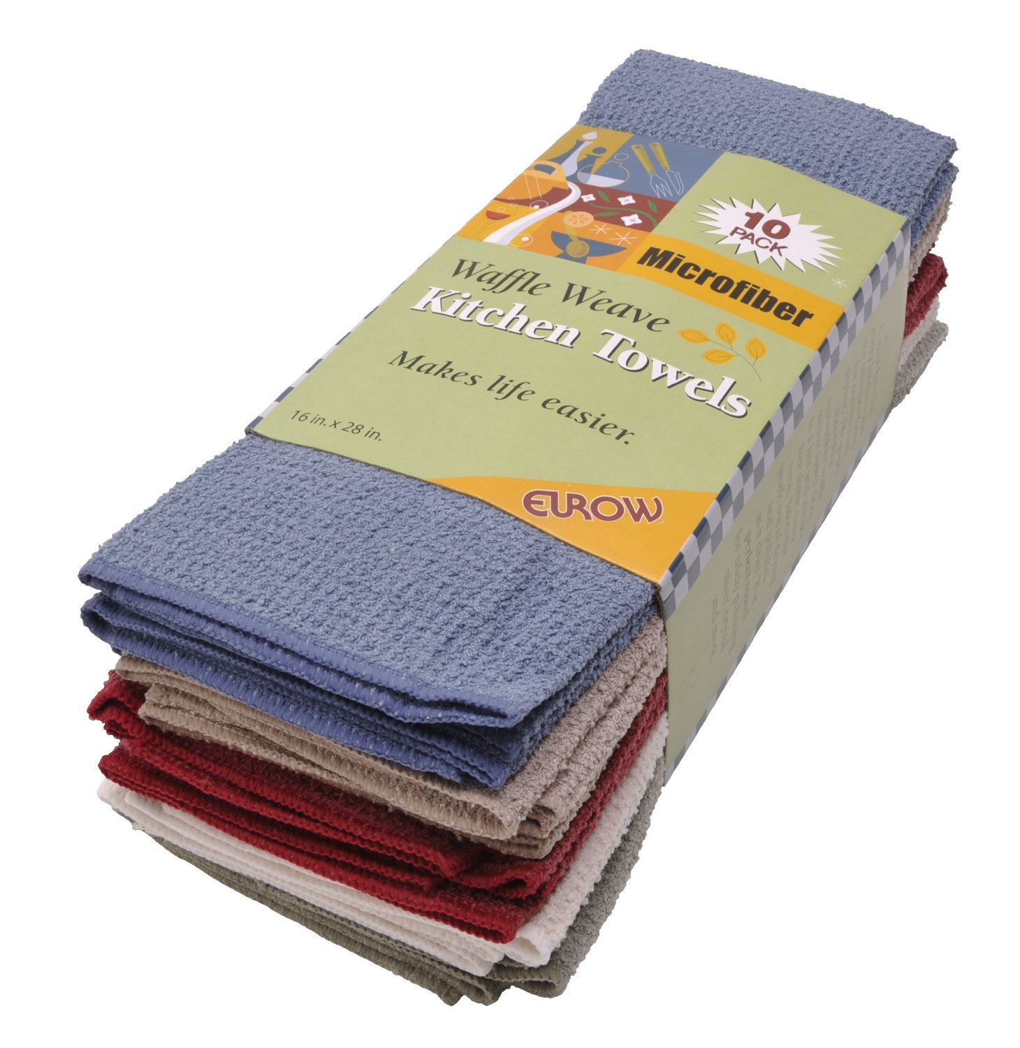 Eurow Microfiber Waffle Weave Kitchen Towels 10pack