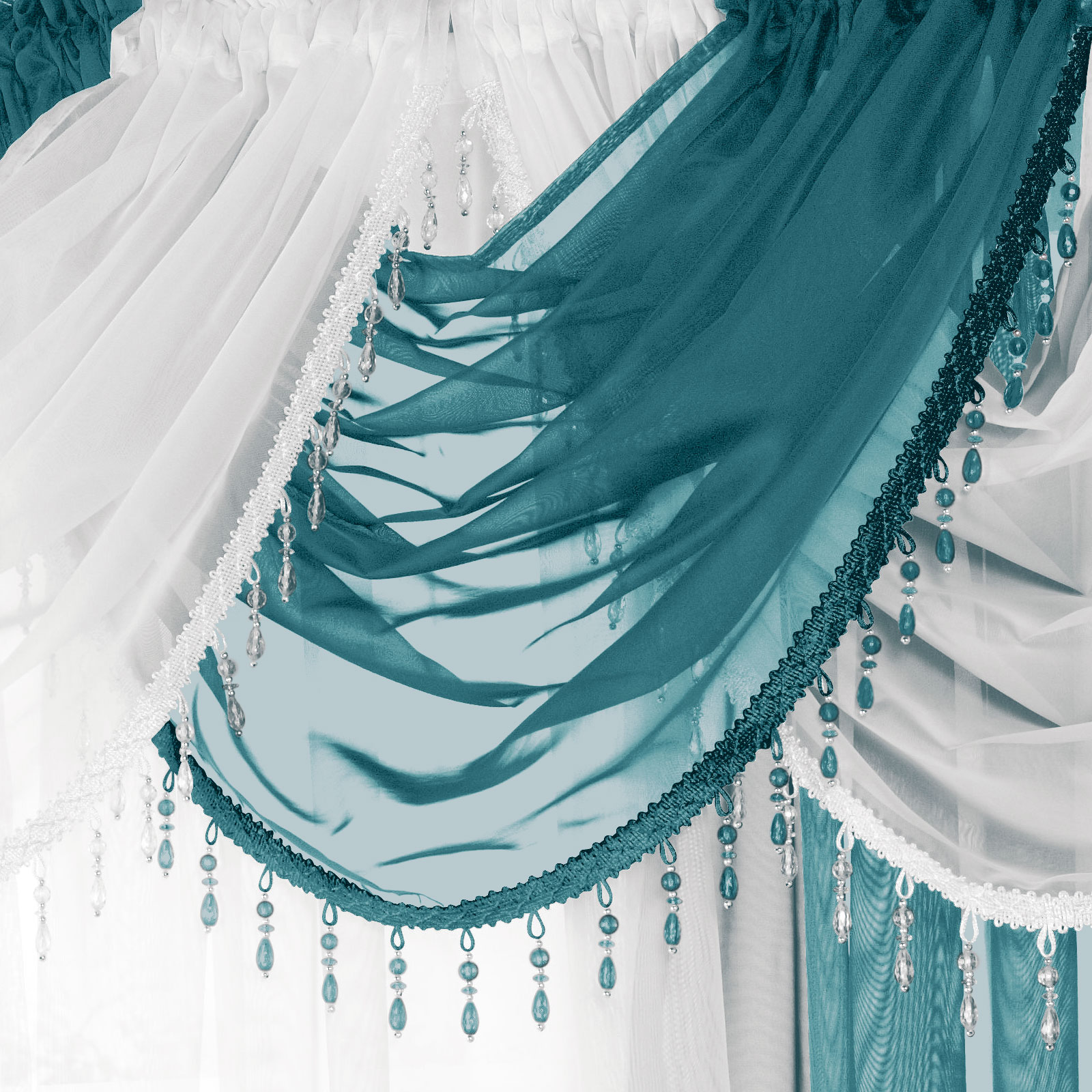 Crystal Beaded Voile Swag