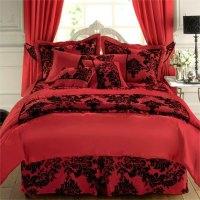 Royal Velvet Duvet Cover In Victorian Damask - Faux Silk ...