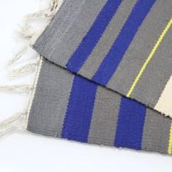 Striped Kitchen Rug Anti Fatigue Mat Colourful 100 Cotton Flat Woven 55x85cm