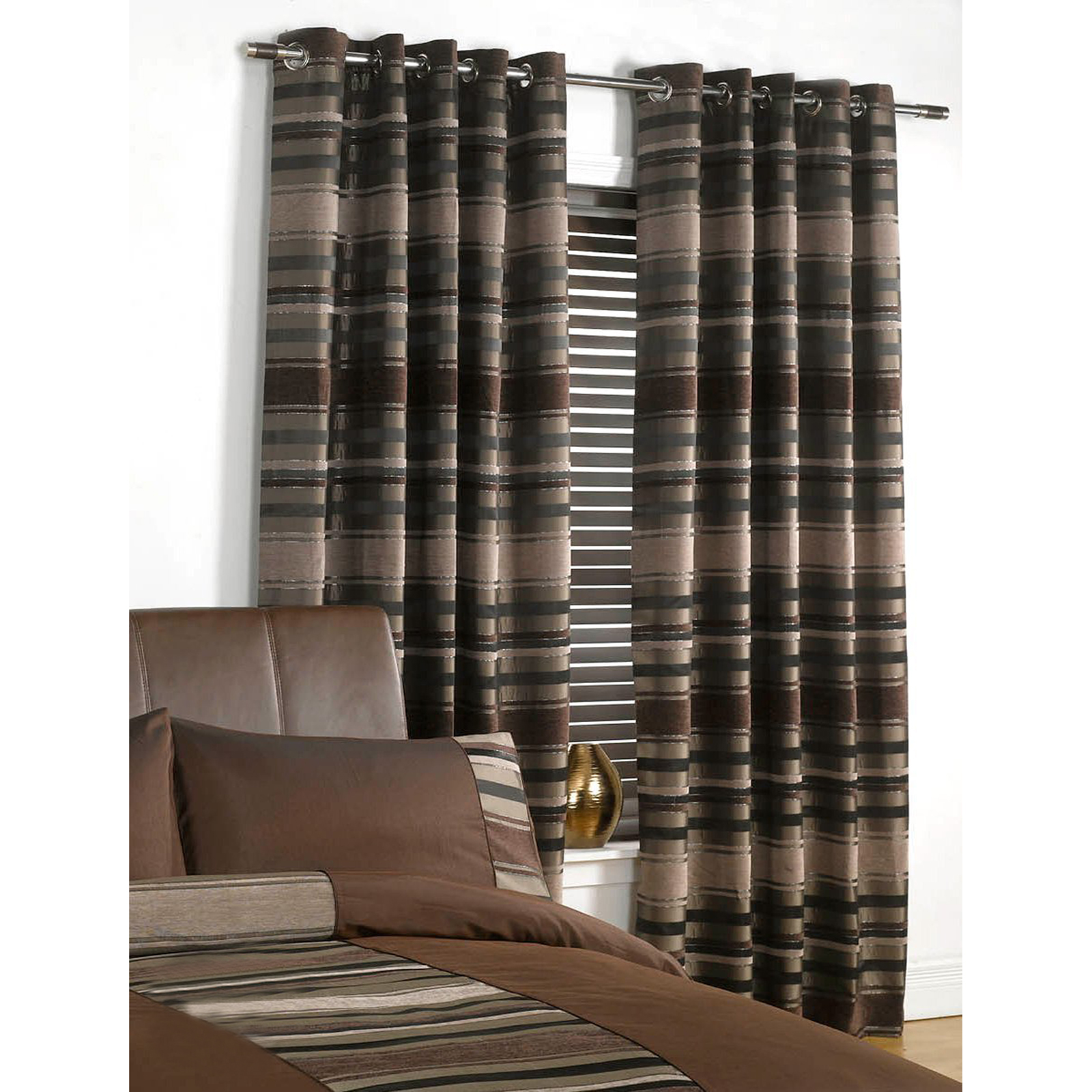 Chenille  Faux Silk Curtains Luxury Striped Eyelet Ring Top Fully Lined Curtain  eBay
