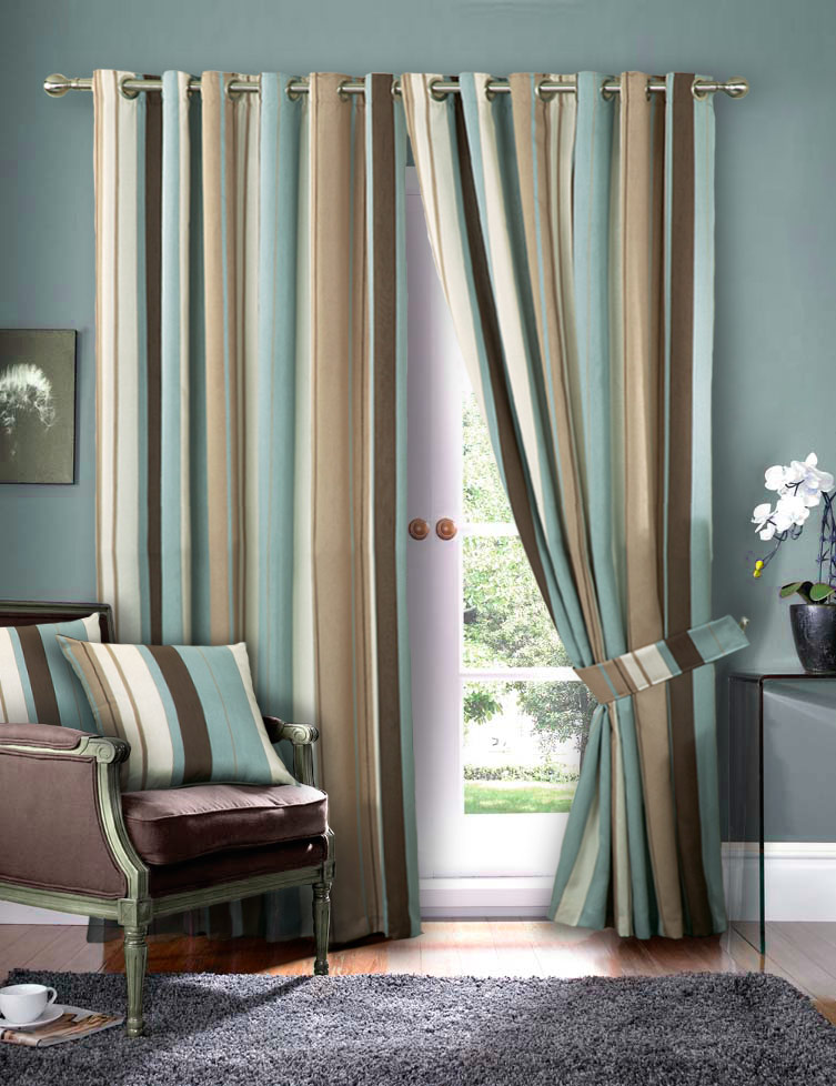 Luxury Striped Faux Silk Curtains Ready Made Eyelet Ring Top Fully
