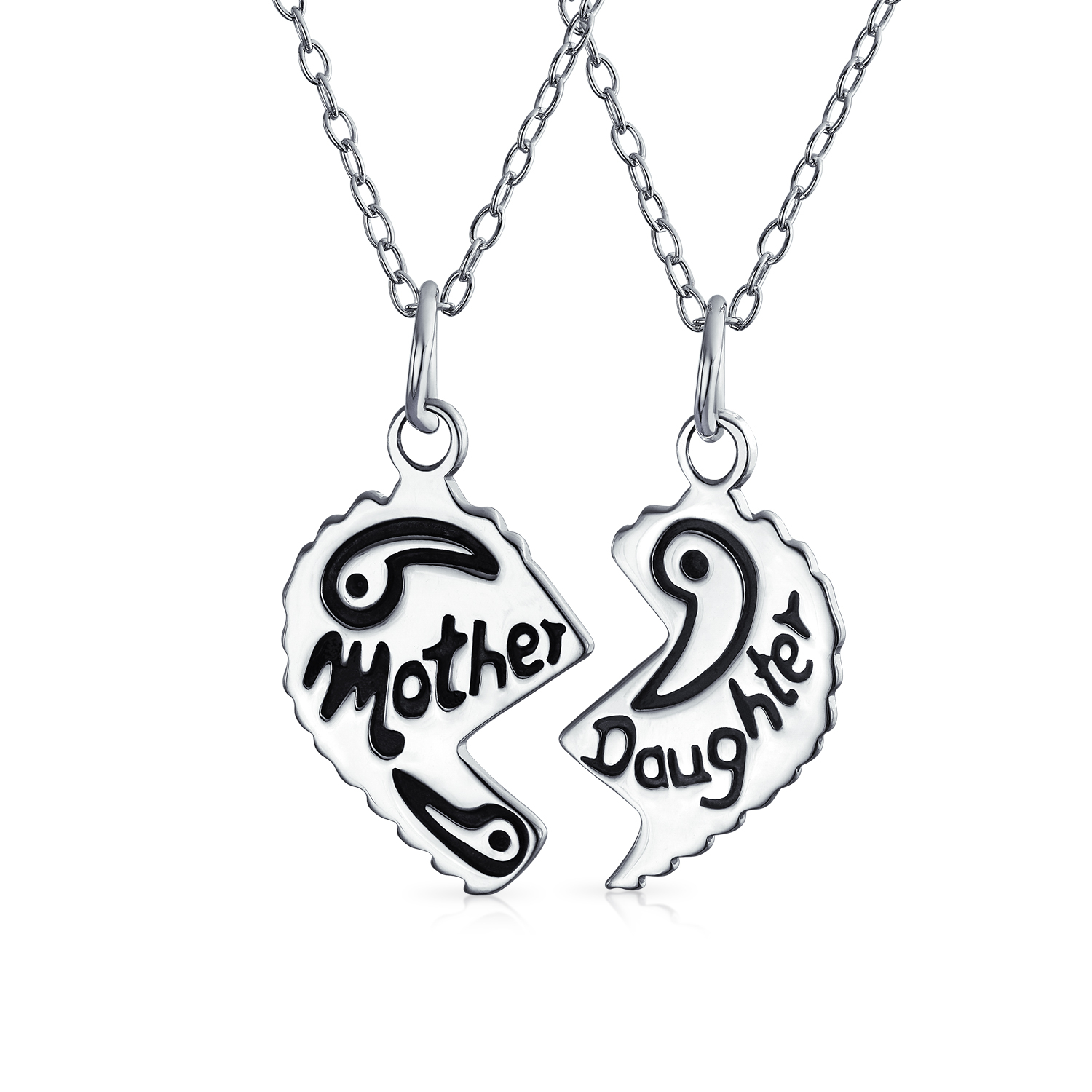 Etched Mother Daughter Heart Break Apart 2 PC Black