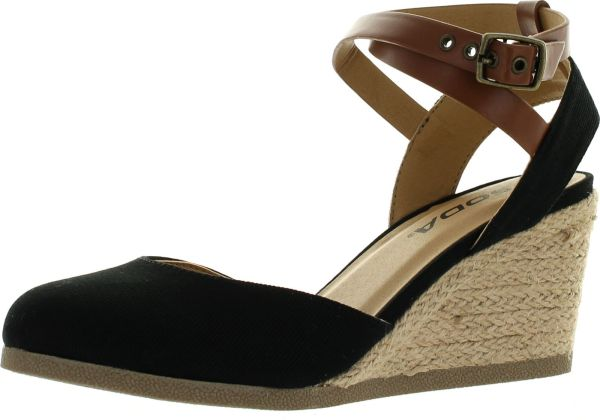Soda Womens Request Closed Toe Espadrille Wedge Sandal In