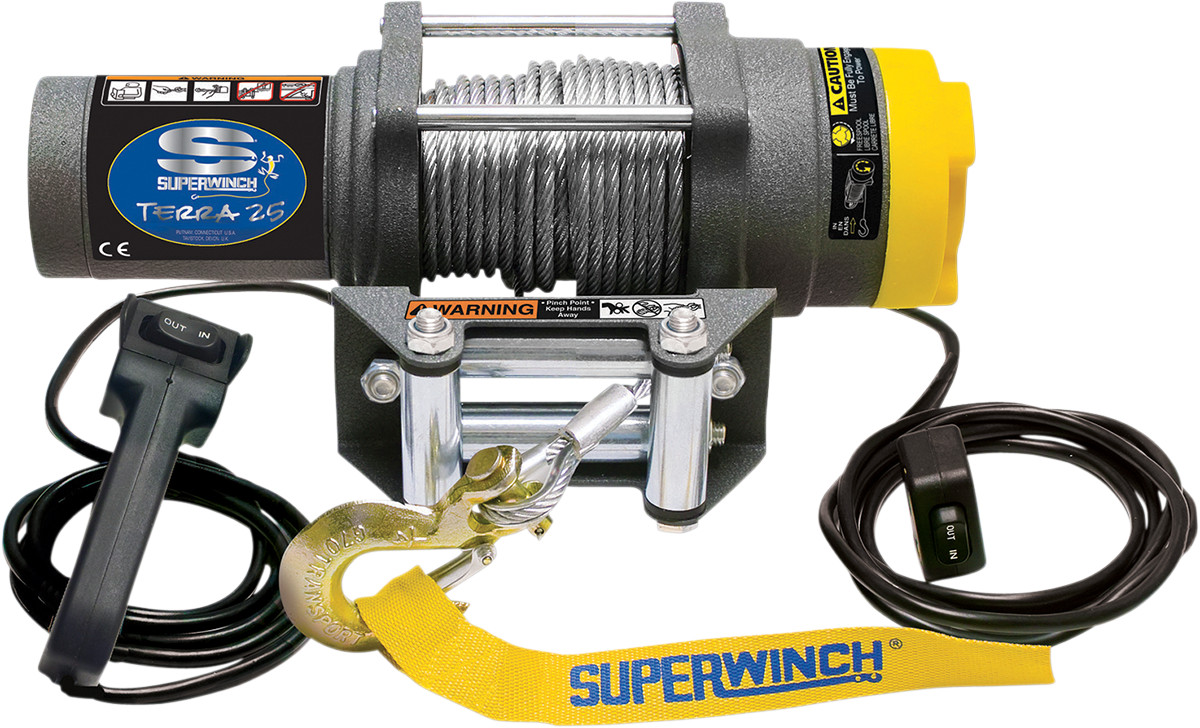 hight resolution of superwinch terra25 sxs 2500 lb atv utv winch steel cable 1125220