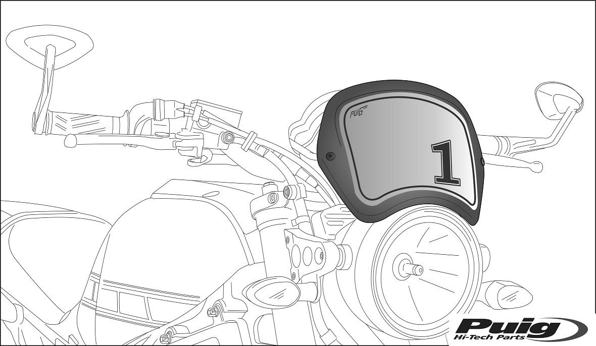 Puig Front Number Plate Matte Black For Yamaha XSR 900 16