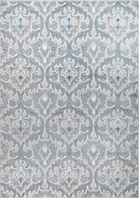 Contemporary Cream-Blue Carpet Curls Curves Flames ...