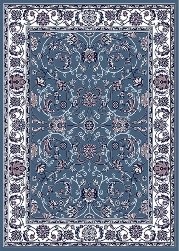 Blue Bordered Modern Area Rug Square Floral Carpet