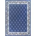Traditional floral oriental blue area rug lattice border persian