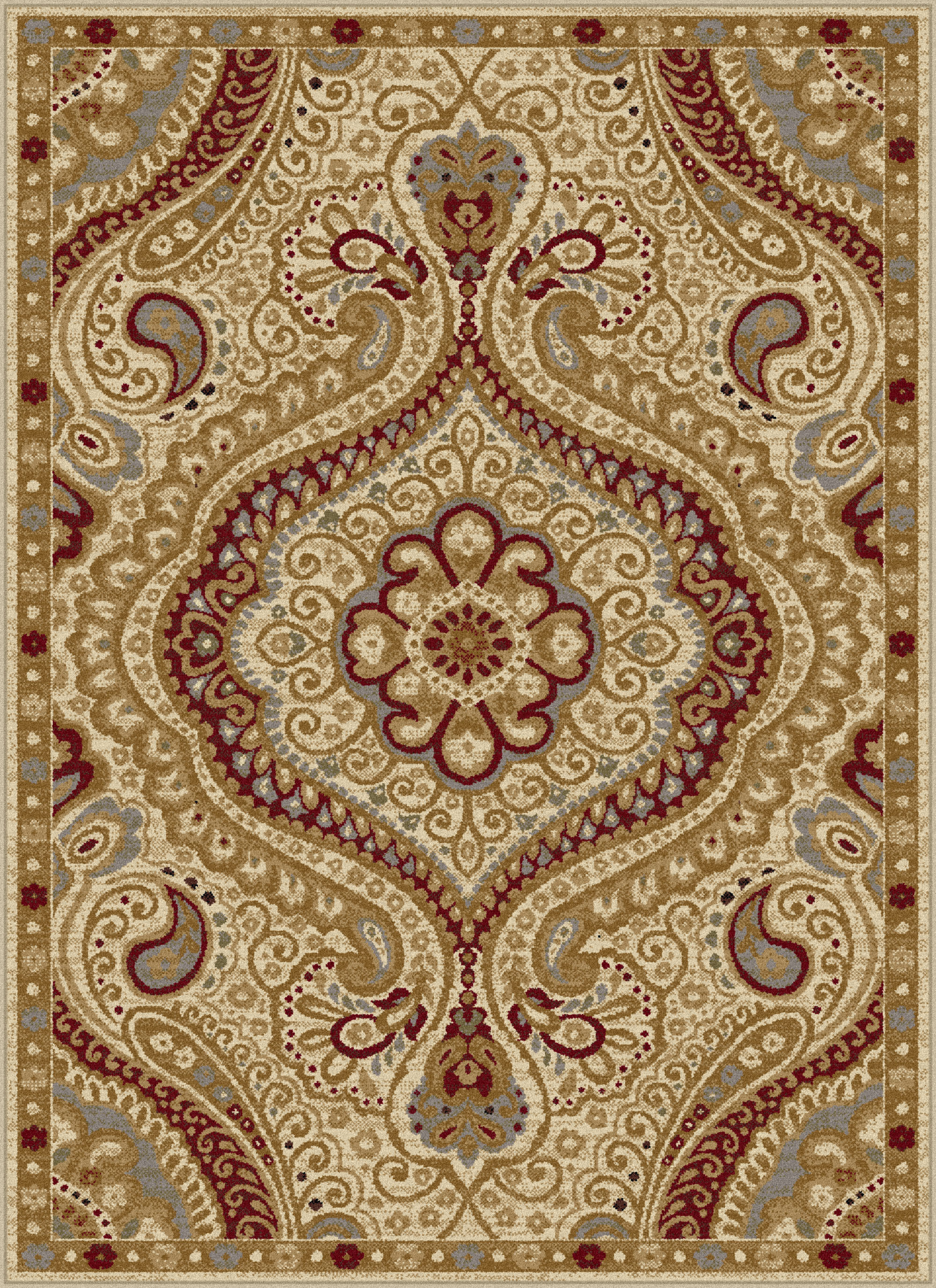 Ivory Swirls Curls Transitional Casual Area Rug Paisley