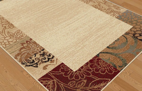 Casual Ivory Brown Green Floral Area Rug Transitional