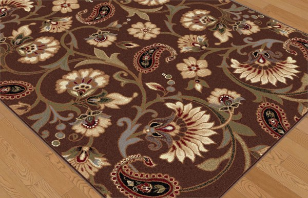 Brown Casual Floral Vines Area Rug Transitional Ivory