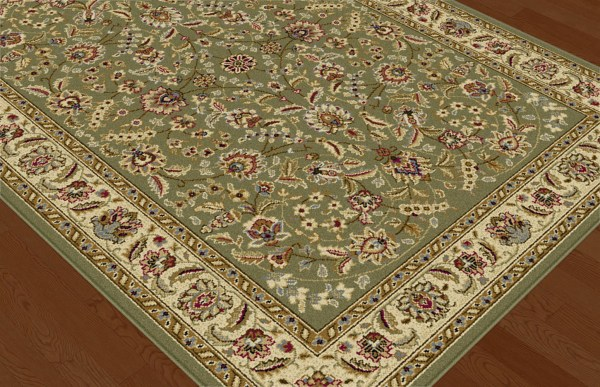 Green Traditional Oriental Floral Vine Area Rug Multi