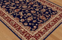 Navy Blue Traditional Oriental Bordered Area Rug Multi ...
