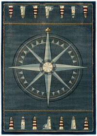 Blue Nautical Carpet Nautical Compass Lighthouse Nautical ...