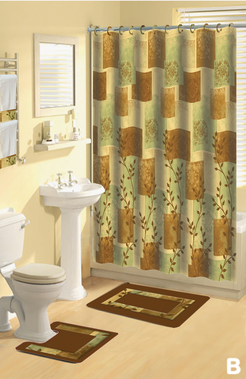 Shower Curtains 17 pcs Set Contemporary Bath Mat Contour Rug Hooks Hand Towels  eBay