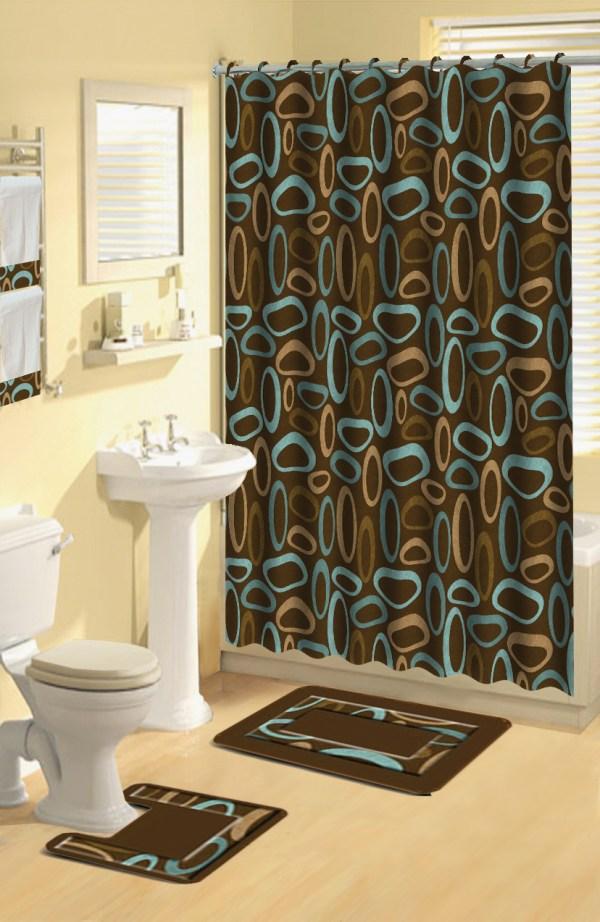 Modern Geometric Brown Oval Rings 17 Pc Bath Rug Shower Curtains Hooks Towel Set