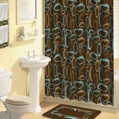 Kitchen Window Curtains Hutch Plans Shower 17 Pcs Set Contemporary Bath Mat Contour ...
