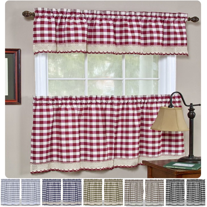 Details about Window Curtain Tier Pair & Valance 3PC Set Checked Plaid  Gingham Kitchen Panel