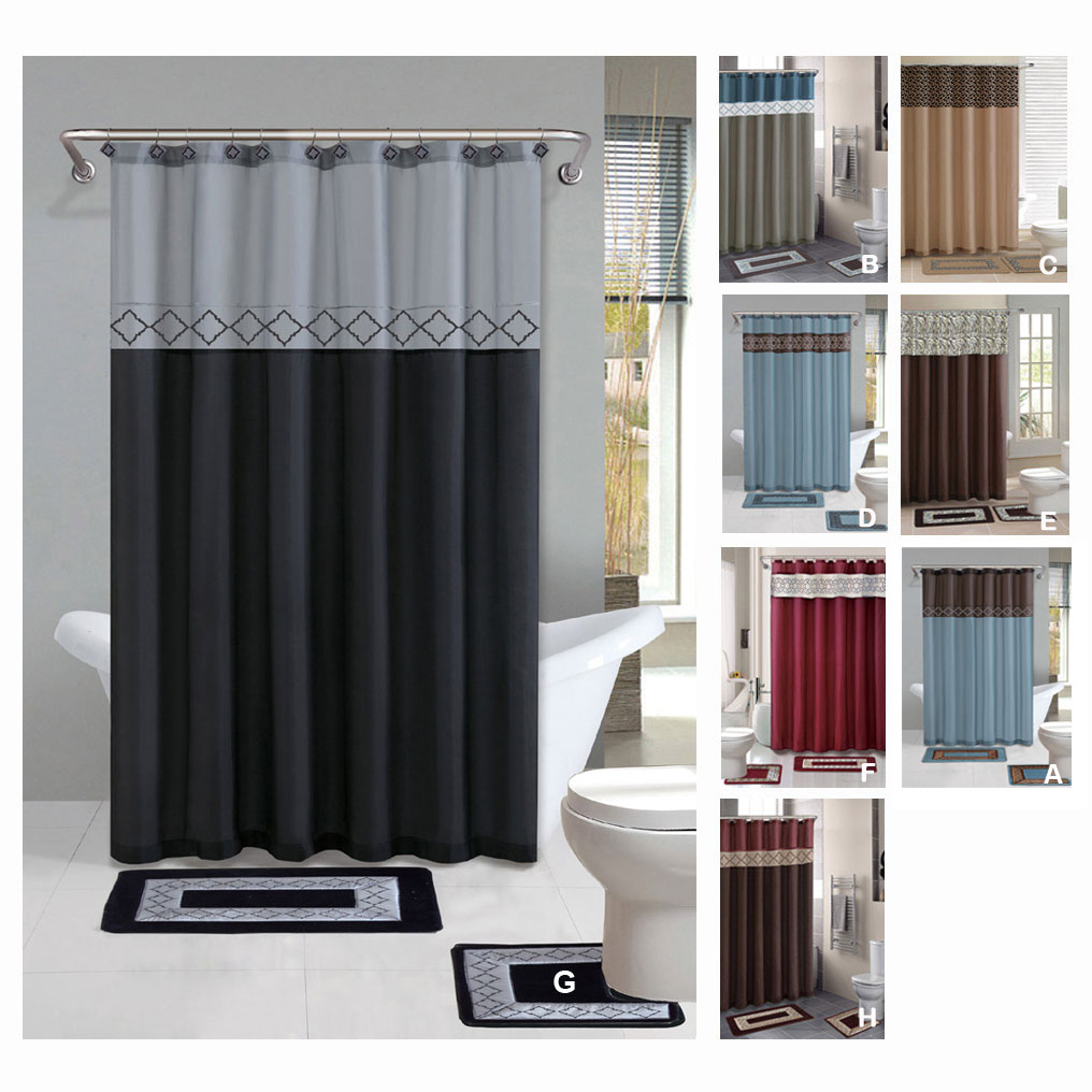 Bathroom Shower Curtain Details About Contemporary Bath Shower Curtain 15 Pcs Modern Bathroom Rug Mat Contour Hook Set