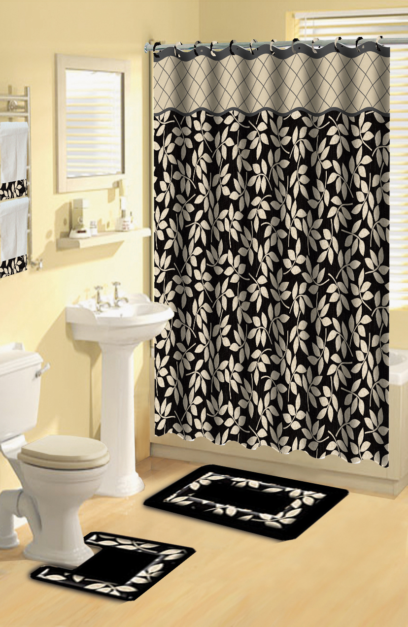 Modern Floral Leaves Black 17 Piece Bath Rug Shower Curtains Hooks Towel Set  eBay