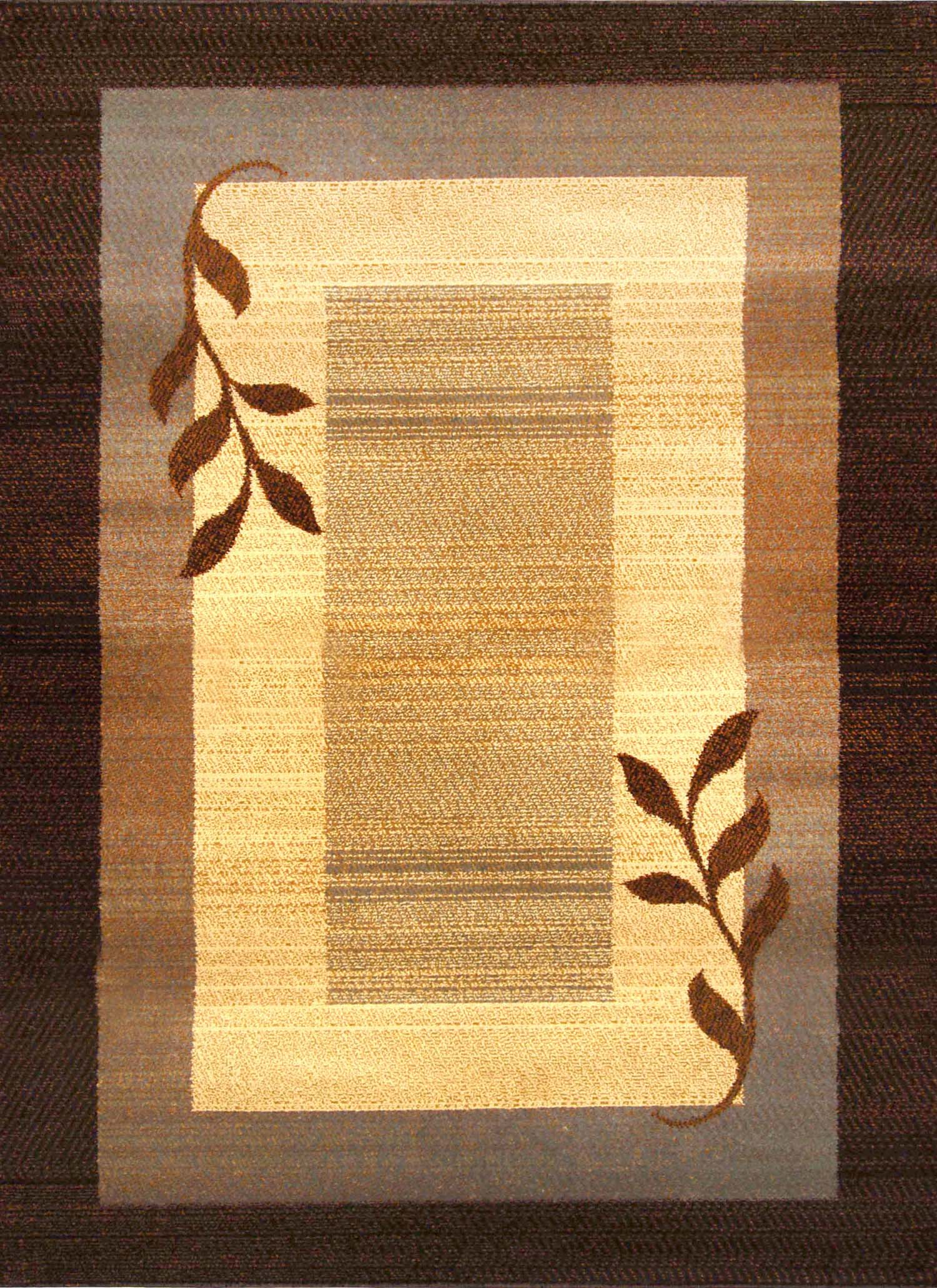 Transitional Lodge Rustic 8x11 Contemporary Leaves Area