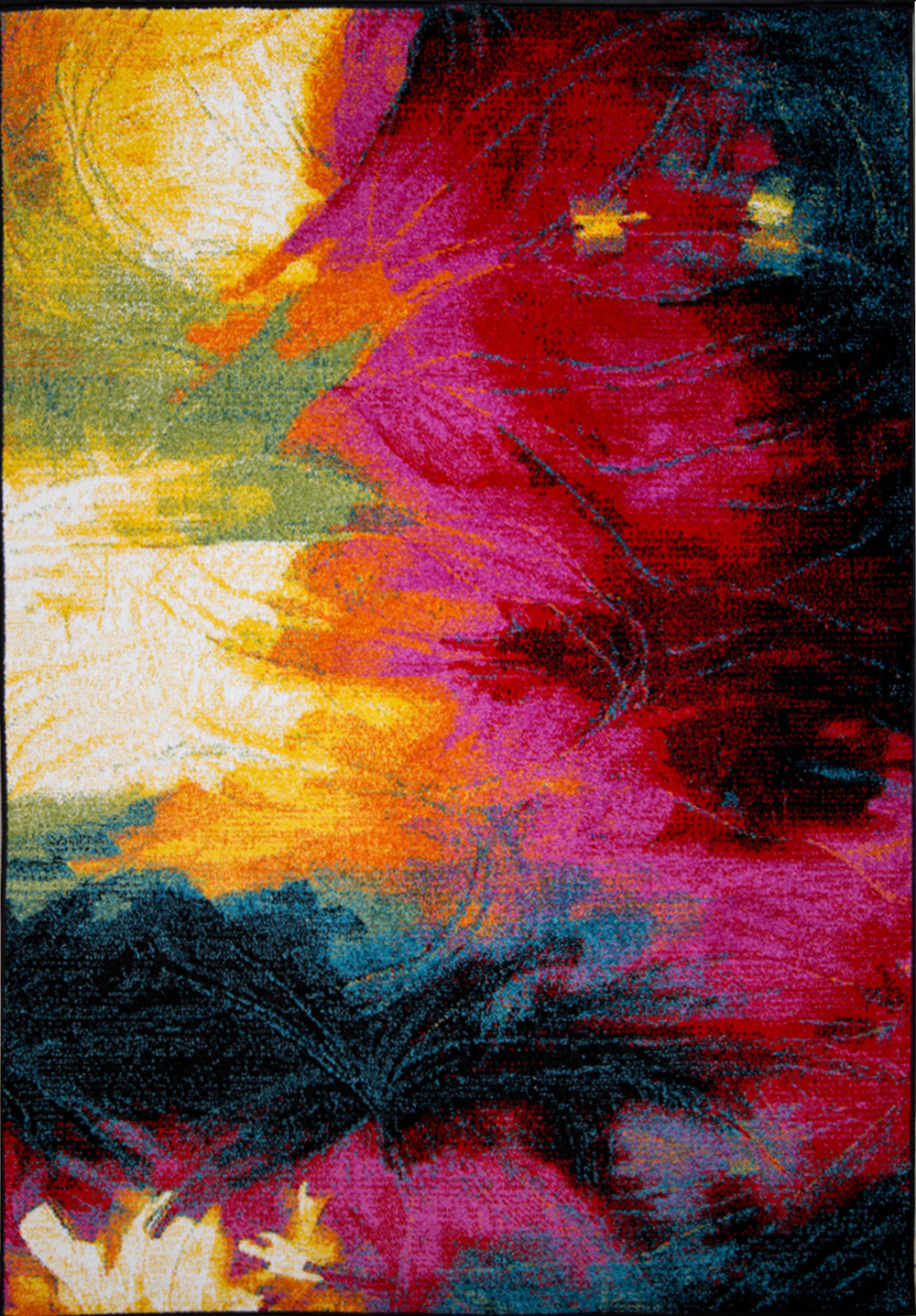 Details About Rugs Swirls Contemporary Modern Area Rug Multi Color Abstract Paint Carpet