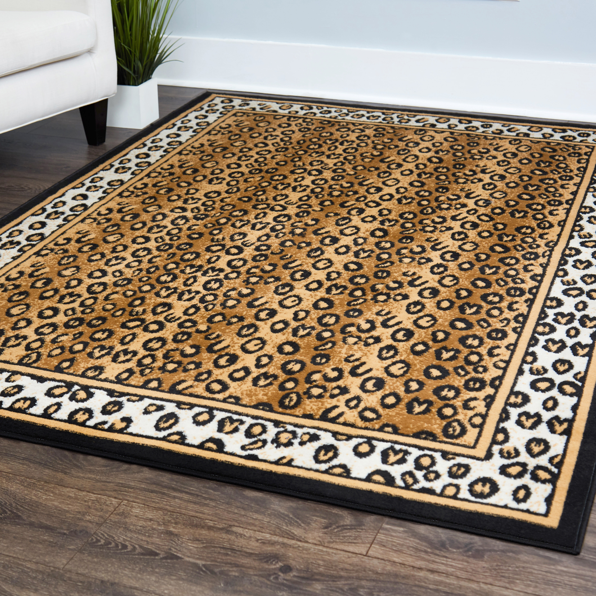 Details About Contemporary Leopard Skin Animal Print Area Rug Modern Bordered African Carpet