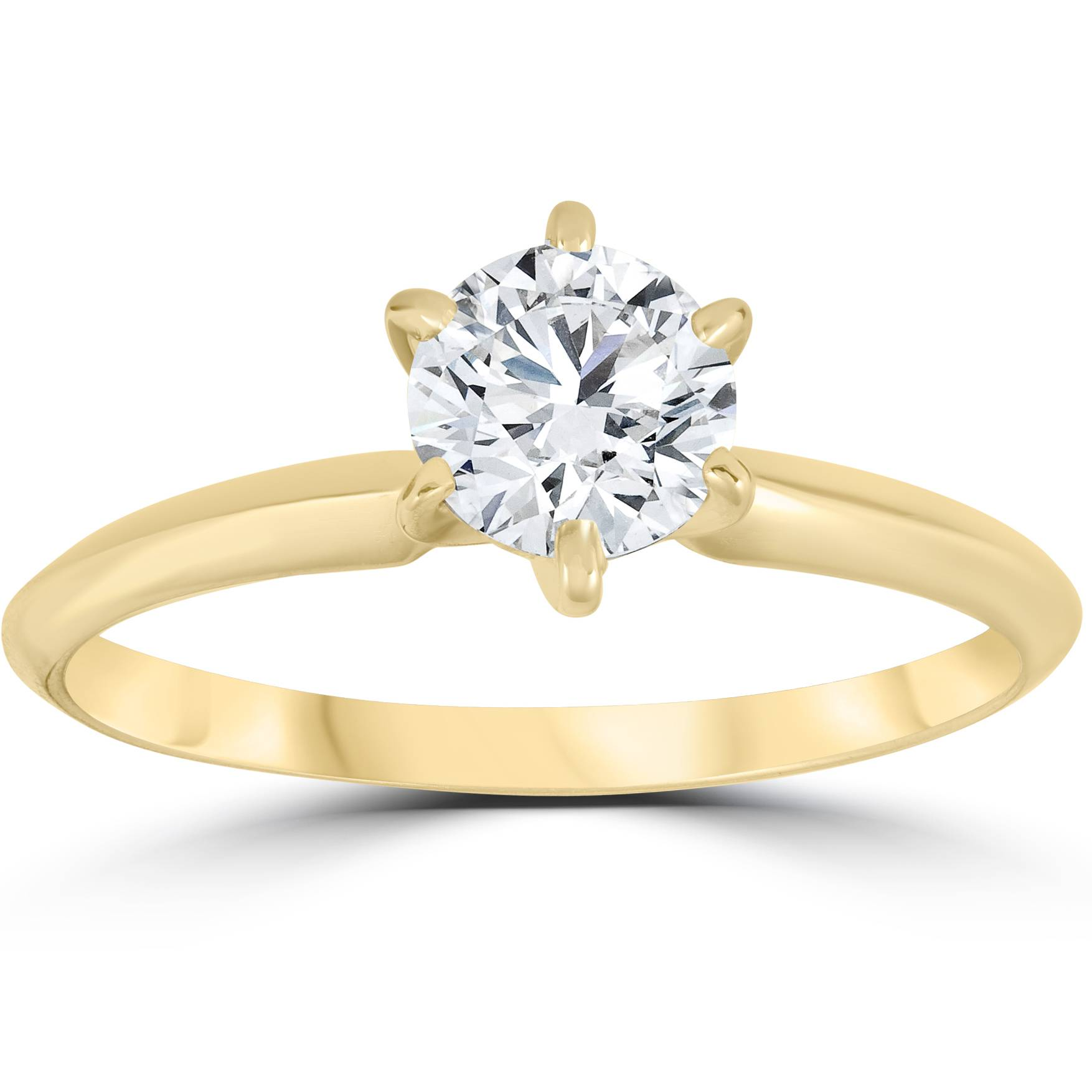 14k Yellow Gold 3/4ct Round Solitaire Diamond Engagement