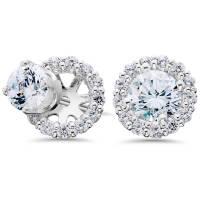 3/4ct Diamond Studs & Earring Halo Jackets 14k White Gold