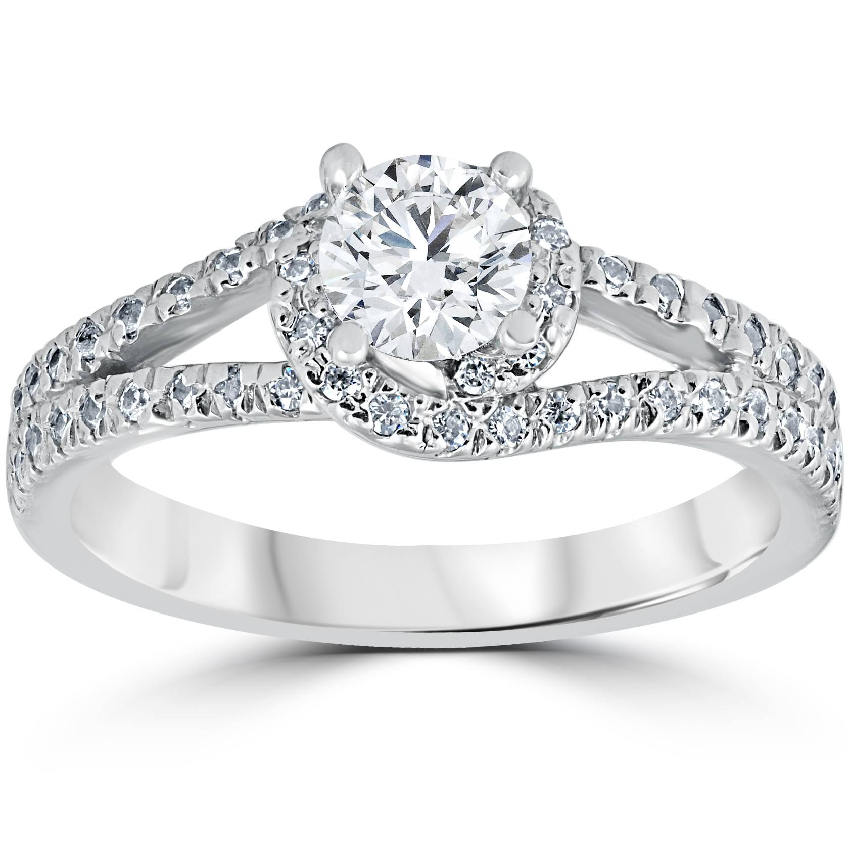 1 16ct Twist Round Cut Solitaire Diamond Engagement Ring