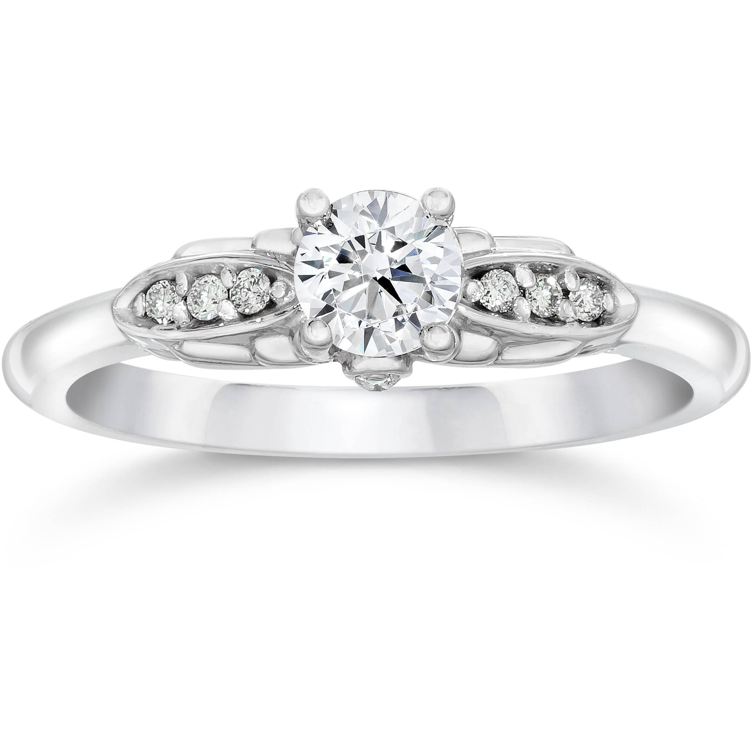 1/2 Carat Diamond Vintage Engagement Ring 14K White Gold