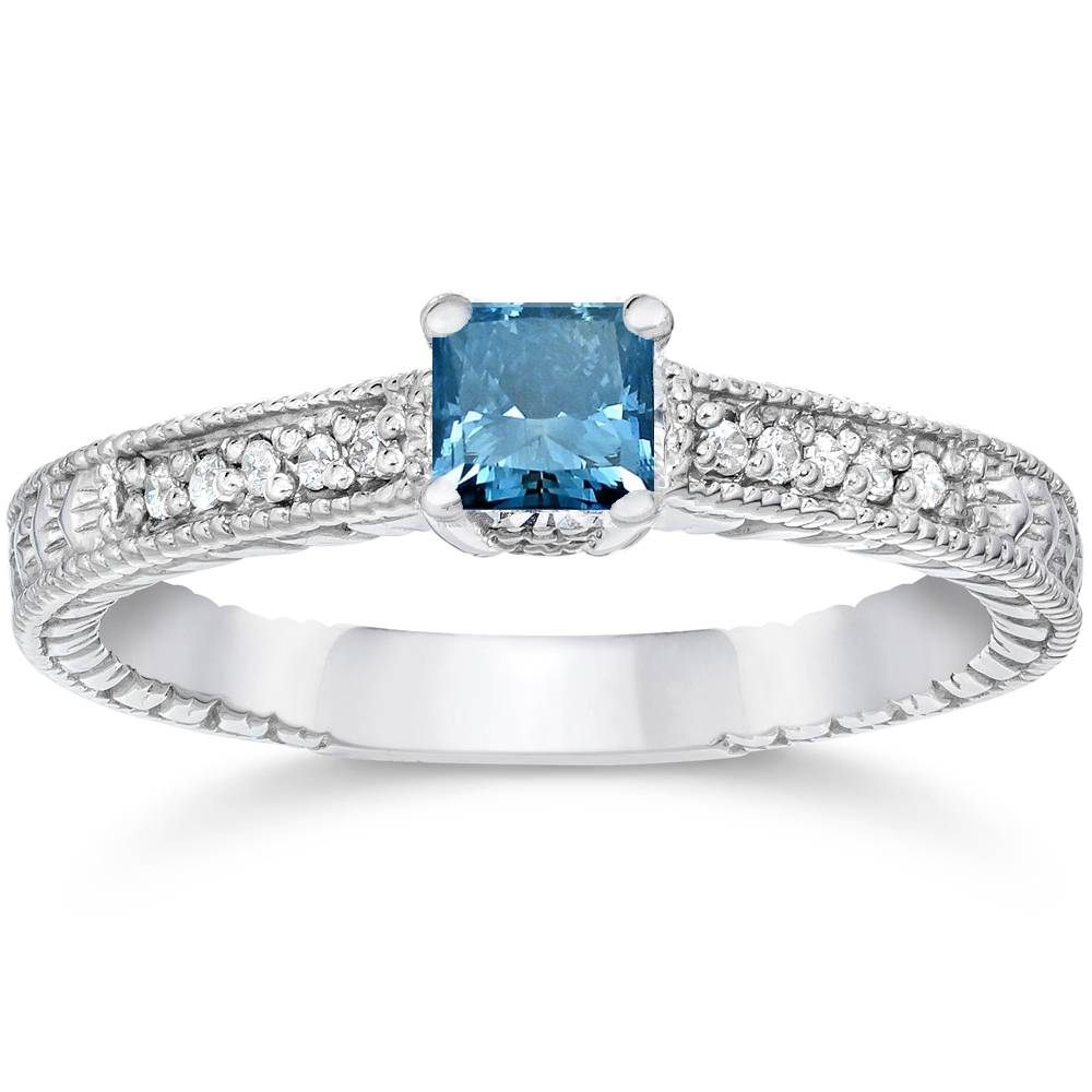 12ct Princess Cut Antique Treated Blue Diamond Engagement Ring White Gold  eBay