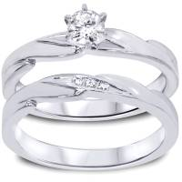 1/4ct Diamond Engagement Wedding Ring Set 10K White Gold ...