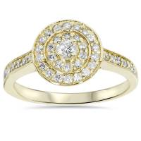 1/2 Carat Round Genuine Diamond Double Halo Engagement ...