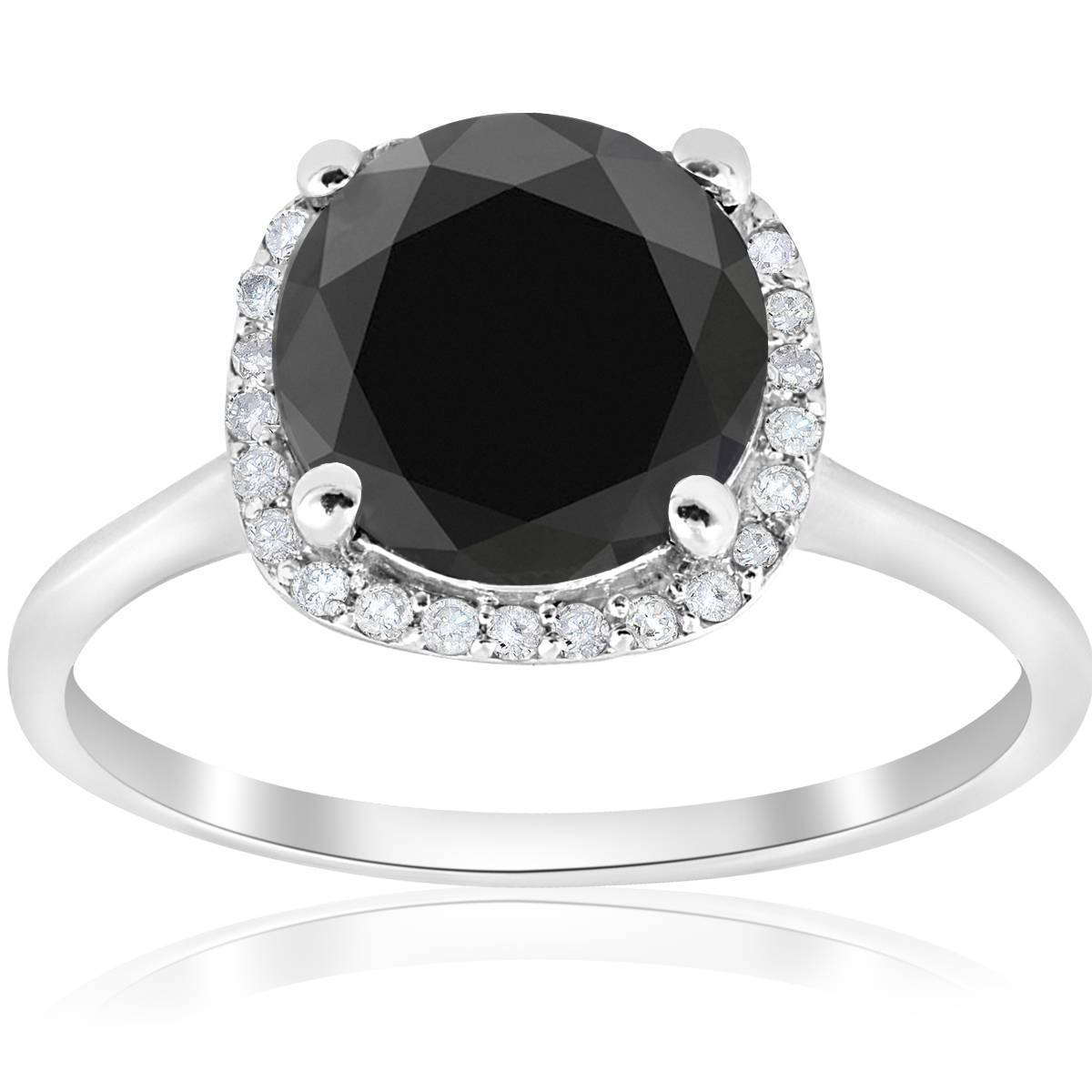 3 110ct Treated Black Diamond Cushion Halo Engagement