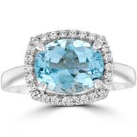 2ct Oval Blue Topaz and Natural Diamond Halo Ring 10K ...