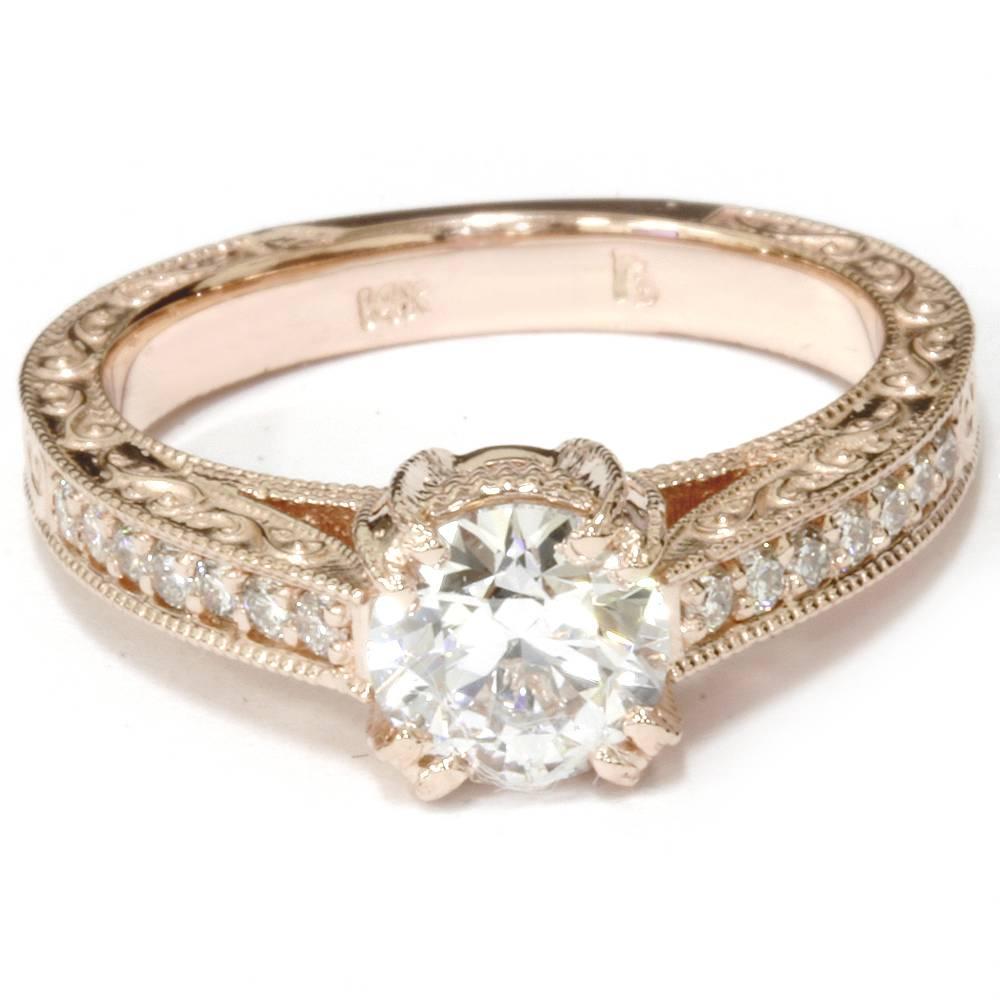 Vintage Diamond Engagement Antique Hand Engraved 1.15Ct