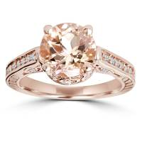 Morganite & Diamond Vintage Engagement Ring 2 Carat