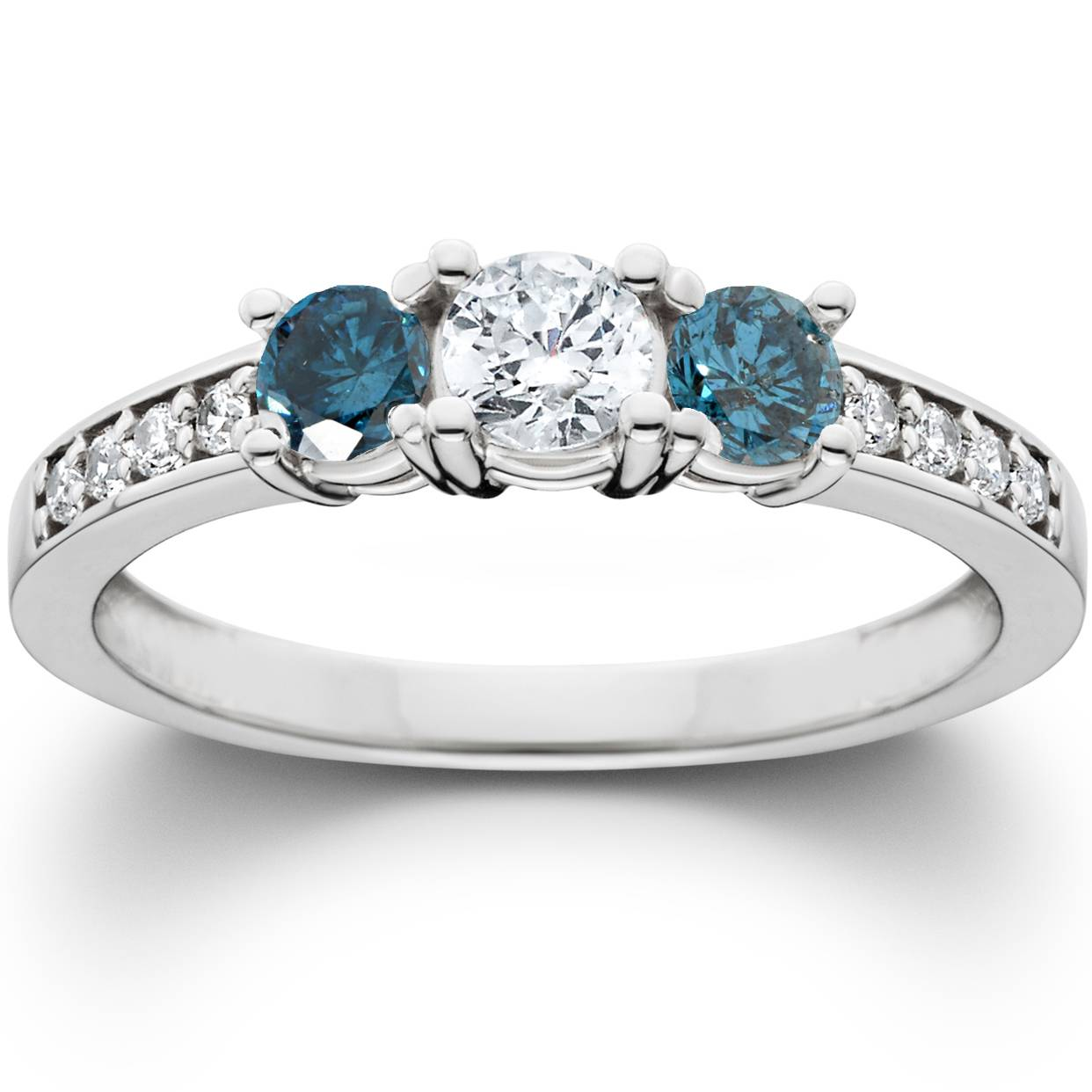 1ct Treated Blue Diamond 3 Stone Engagement Ring 14K White Gold
