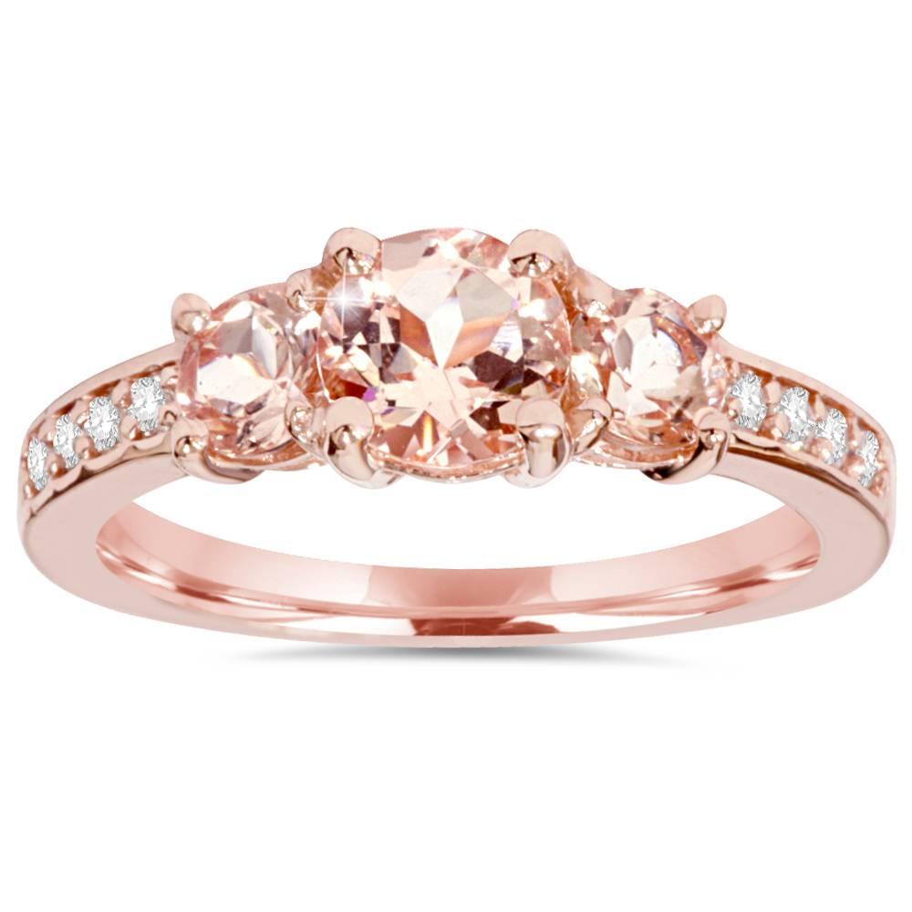 1.50Ct Morganite & Natural Diamond 3 Stone Ring 14K Rose
