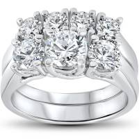 3 ct Diamond Engagement Wedding Ring Set 3-Stone Matching ...